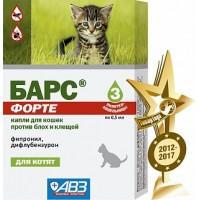 Барс Форте капли против блох и клещей для котят
