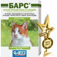 Барс капли для кошек против блох и клещей