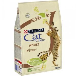 Корм Cat Chow Adult для взрослых кошекс уткой, 1,5кг