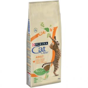 Корм Cat Chow Adult для взрослых кошек, с домашней птицей, 15кг