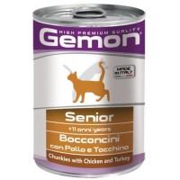Консервы Gemon для пожилых кошек, кусочки курицы с индейкой, 415г