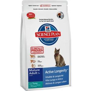 Корм Hill's SP Feline Mature Adult 7+ Active Longevity для пожилых кошек, с тунцом, 2кг