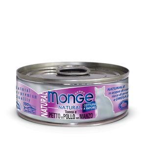 Monge Cat Natural консервы для кошек тунец с курицей и говядиной 80 г