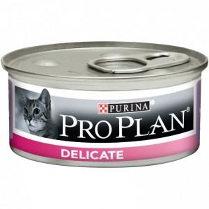 Консервы Purina Pro Plan Delicate для кошек с чувствительным пищеварением, индейка, банка, 85 г