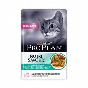 Консервы Purina Pro Plan Delicate для кошек с чувствительным пищеварением, океаническая рыба, пауч, 85 г