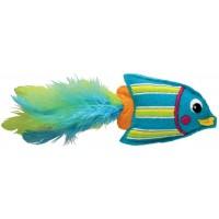 """Игрушка для кошек Kong """"Тропическая рыбка"""" 12 см, фетр/перья/кошачья мята голубая"""