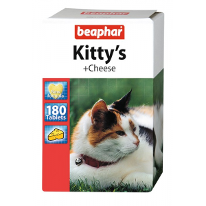 Мультивитамины Beaphar Kitty's+Cheese со вкусом сыра для кошек, 180 таблеток