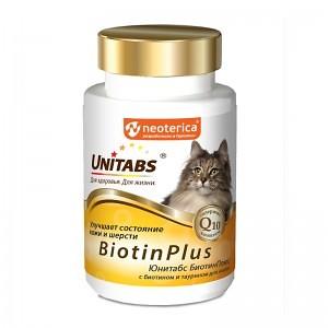 Мульти-комплекс Unitabs BiotinPlus с биотином и таурином для кошек, 120 таб
