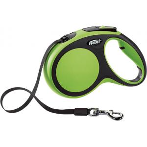 flexi рулетка New Comfort M (до 25 кг) лента 5 м черный/зелёный
