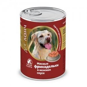 ДОГ ЛАНЧ Консервы для собак Фрикадельки в нежном соусе Мясное ассорти (850г)