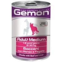 Консервы Gemon  для собак средних пород,  кусочки говядины с печенью 415г