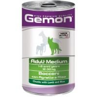 Консервы Gemon для собак средних пород, кусочки ягненка с рисом 1250г