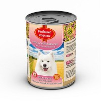 Консервы РОДНЫЕ КОРМА для собак птица с потрошками в желе по московски, 970г