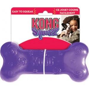 Kong игрушка для собак Сквиз Косточка  15 см средняя резиновая с пищалкой