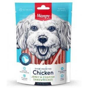 Лакомство для собак Wanpy курица с треской в форме сэндвича, 100г