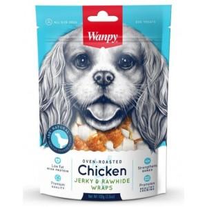 Лакомство для собак Wanpy кости из сыромятной кожи с куриным мясом, 100г