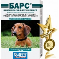 Барс капли для собак (10-20кг) от блох и клещей