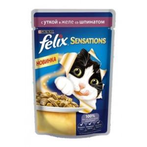 Упаковка из 24 шт. Felix sensations кусочки в желе для кошек с уткой и шпинатом