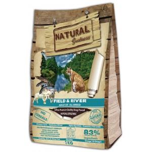 Сухой корм Natural Greatness Fild&River для взрослых кошек с лососем и ягнёнком, 18кг