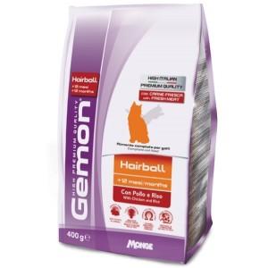 Gemon Cat Hairball корм для выведение шерсти для взрослых кошек с курицей и рисом 400 г