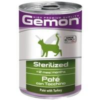 Консервы Gemon для стерилизованных кошек, паштет из индейки