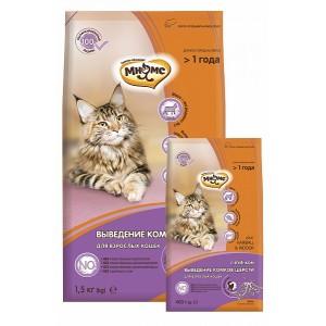 Мнямс Hairball&Indoor для взрослых домашних кошек, для выведения комков шерсти из желудка, с ягненком, 400г