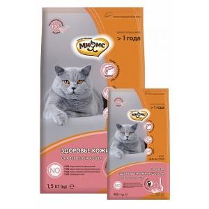 Мнямс Skin&Coat для взрослых кошек, с лососем, 1,5 кг