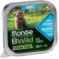 Консервы Monge BWild для кошек, анчоус с овощами, 100г