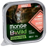 Консервы Monge BWild для кошек, лосось с овощами, 100г