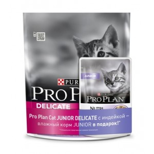 Корм PRO PLAN® Junior Delicate для котят с чувствительным пищеварением, 0,4кг