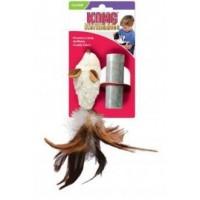 """Игрушка для кошек Kong  """"Мышь полевка с перьями"""" 15 см, с кошачьей мятой"""