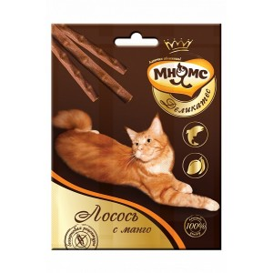 Лакомство Мнямс Деликатес палочки 9 см для кошек с лососем и манго, 3х4г