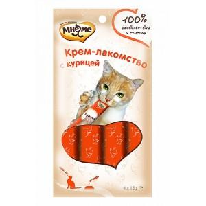 Крем-лакомство Мнямс для кошек с курицей, 4 шт. х 15 г.
