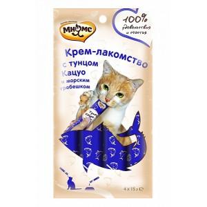 Крем-лакомство Мнямс для кошек с морским гребешком, 4 шт. х 15 г.