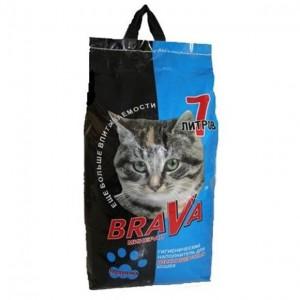 Впитывающий наполнитель BraVa синий, для длинношерстных кошек, 15л