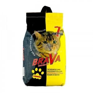 Впитывающий наполнитель BraVa жёлтый, для гладкошерстных кошек, 7л