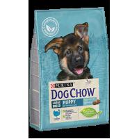Dog Chow для щенков крупных пород, с индейкой, 14 кг