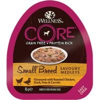 Консервы CORE для мелких собак, из курицы с уткой, горошком и морковью для собак для собак, 85 г