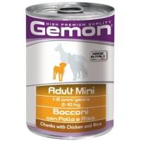 Консервы Gemon  собак мелких пород,  кусочки курицы с рисом 415г