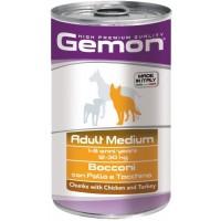 Консервы Gemon для собак средних пород, кусочки курицы с индейкой 1250г