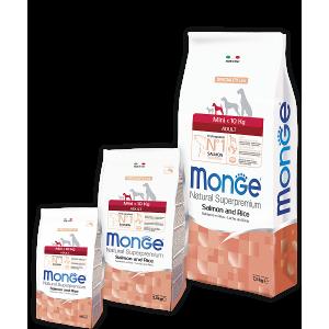 Monge Mini Adult Salmone корм для взрослых собак мелких пород (от 2 до 10кг), лосось и рис