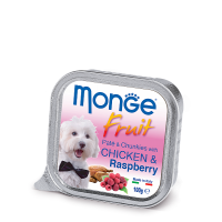 Консервы Monge Fruit для собак курица с малиной 100 г