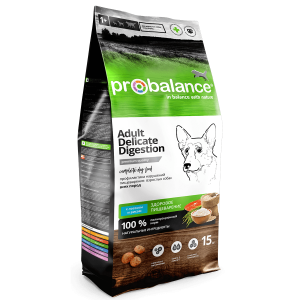 ProBalance Delicate Digestion Корм сухой для взрослых собак всех пород, с лососем и рисом, 15 кг