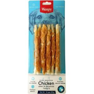 Лакомство для собак Wanpy трубочки из сыромятной кожи с куриным мясом, 85г