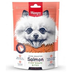 Лакомство для собак Wanpy кусочки из нежного лосося в форме рыбок, 100г